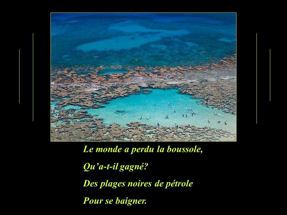 Le monde a perdu la boussole, Qua-t-il gagné? Des plages noires de pétrole Pour se baigner.