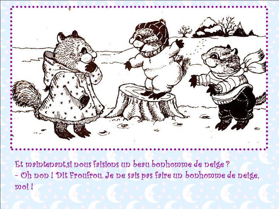 Viens,Froufrou ! Mets-toi entre nous ! Quelle belle descente, mes amis ! Que cest amusant, la neige !