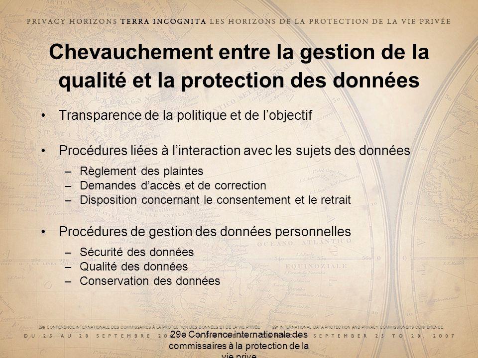 29e CONFÉRENCE INTERNATIONALE DES COMMISSAIRES À LA PROTECTION DES DONNÉES ET DE LA VIE PRIVÉE 29 th INTERNATIONAL DATA PROTECTION AND PRIVACY COMMISSIONERS CONFERENCE 29e Confrence internationale des commissaires à la protection de la vie prive Autres élaborations de normes Plusieurs consortiums sont actifs : –ISSEA –ISTPA –SSSIB –OMG –W3C Il y en a probablement plusieurs autres