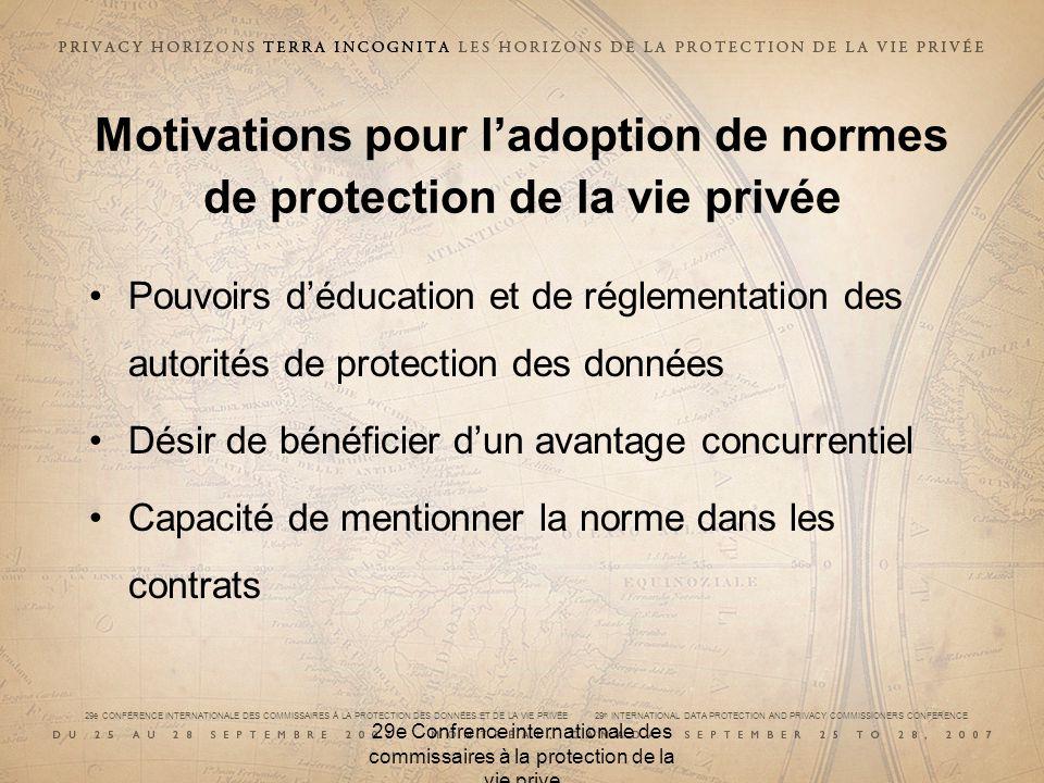 29e CONFÉRENCE INTERNATIONALE DES COMMISSAIRES À LA PROTECTION DES DONNÉES ET DE LA VIE PRIVÉE 29 th INTERNATIONAL DATA PROTECTION AND PRIVACY COMMISSIONERS CONFERENCE 29e Confrence internationale des commissaires à la protection de la vie prive Stratégie canadienne de normalisation de la PVP 21 et 22 février 2007 : CPVP, CSA, CCN, ONGC Feuille de route de la normalisation de la PVP Ce qui est disponible et ce dont on a besoin Rapport sur latelier +, besoins particuliers, conformité, partager les pratiques exemplaires, important de choisir le bon moment, participation