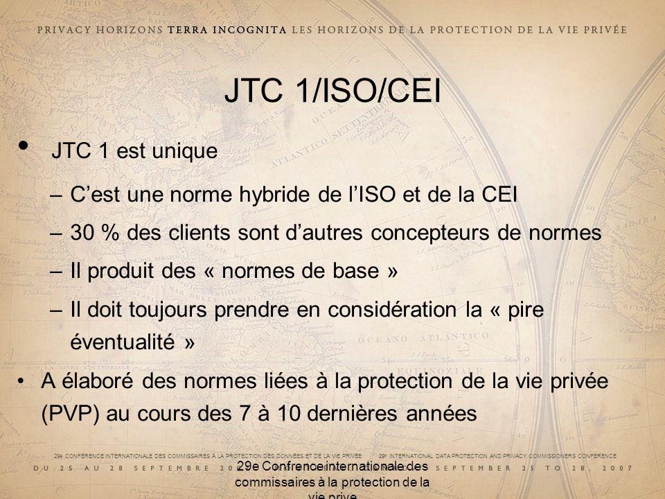 29e CONFÉRENCE INTERNATIONALE DES COMMISSAIRES À LA PROTECTION DES DONNÉES ET DE LA VIE PRIVÉE 29 th INTERNATIONAL DATA PROTECTION AND PRIVACY COMMISSIONERS CONFERENCE 29e Confrence internationale des commissaires à la protection de la vie prive JTC 1/SC 17/ISO/CEI Se préoccupe de la PVP concernant les applications utilisant la technologie des cartes Comprend des données sur la carte à puce et la carte optique Nexamine pas actuellement les normes relatives à la PVP Le président est lauteur de deux évaluations des facteurs relatifs à la vie privée concernant la technologie des cartes évoluées