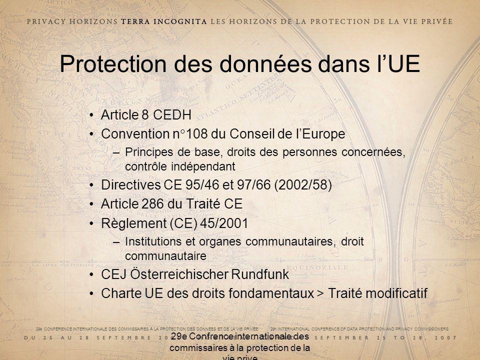 29e CONFÉRENCE INTERNATIONALE DES COMMISSAIRES À LA PROTECTION DES DONNÉES ET DE LA VIE PRIVÉE 29 th INTERNATIONAL CONFERENCE OF DATA PROTECTION AND PRIVACY COMMISSIONERS 29e Confrence internationale des commissaires à la protection de la vie prive Protection des données dans lUE Article 8 CEDH Convention n 108 du Conseil de lEurope –Principes de base, droits des personnes concernées, contrôle indépendant Directives CE 95/46 et 97/66 (2002/58) Article 286 du Traité CE Règlement (CE) 45/2001 –Institutions et organes communautaires, droit communautaire CEJ Österreichischer Rundfunk Charte UE des droits fondamentaux > Traité modificatif