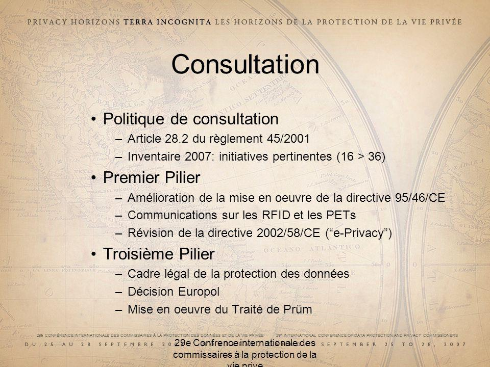 29e CONFÉRENCE INTERNATIONALE DES COMMISSAIRES À LA PROTECTION DES DONNÉES ET DE LA VIE PRIVÉE 29 th INTERNATIONAL CONFERENCE OF DATA PROTECTION AND PRIVACY COMMISSIONERS 29e Confrence internationale des commissaires à la protection de la vie prive Consultation Politique de consultation –Article 28.2 du règlement 45/2001 –Inventaire 2007: initiatives pertinentes (16 > 36) Premier Pilier –Amélioration de la mise en oeuvre de la directive 95/46/CE –Communications sur les RFID et les PETs –Révision de la directive 2002/58/CE (e-Privacy) Troisième Pilier –Cadre légal de la protection des données –Décision Europol –Mise en oeuvre du Traité de Prüm