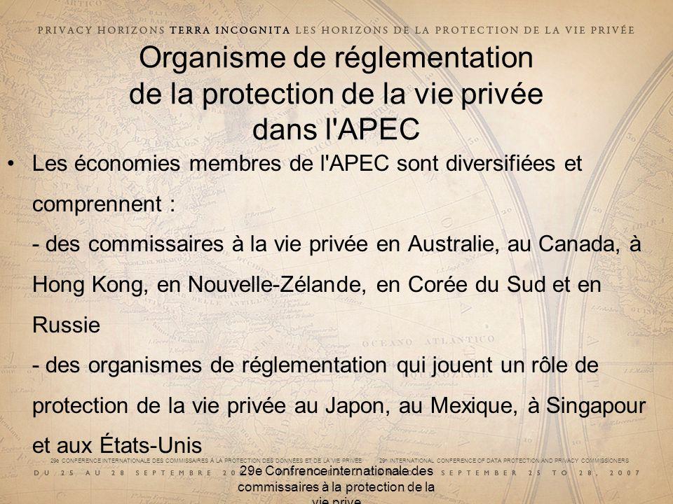 29e CONFÉRENCE INTERNATIONALE DES COMMISSAIRES À LA PROTECTION DES DONNÉES ET DE LA VIE PRIVÉE 29 th INTERNATIONAL CONFERENCE OF DATA PROTECTION AND PRIVACY COMMISSIONERS 29e Confrence internationale des commissaires à la protection de la vie prive Organisme de réglementation de la protection de la vie privée dans l APEC Les économies membres de l APEC sont diversifiées et comprennent : - des commissaires à la vie privée en Australie, au Canada, à Hong Kong, en Nouvelle-Zélande, en Corée du Sud et en Russie - des organismes de réglementation qui jouent un rôle de protection de la vie privée au Japon, au Mexique, à Singapour et aux États-Unis