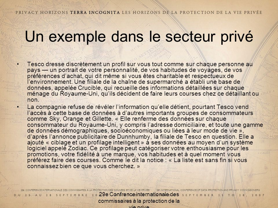 29e CONFÉRENCE INTERNATIONALE DES COMMISSAIRES À LA PROTECTION DES DONNÉES ET DE LA VIE PRIVÉE 29 th INTERNATIONAL CONFERENCE OF DATA PROTECTION AND P