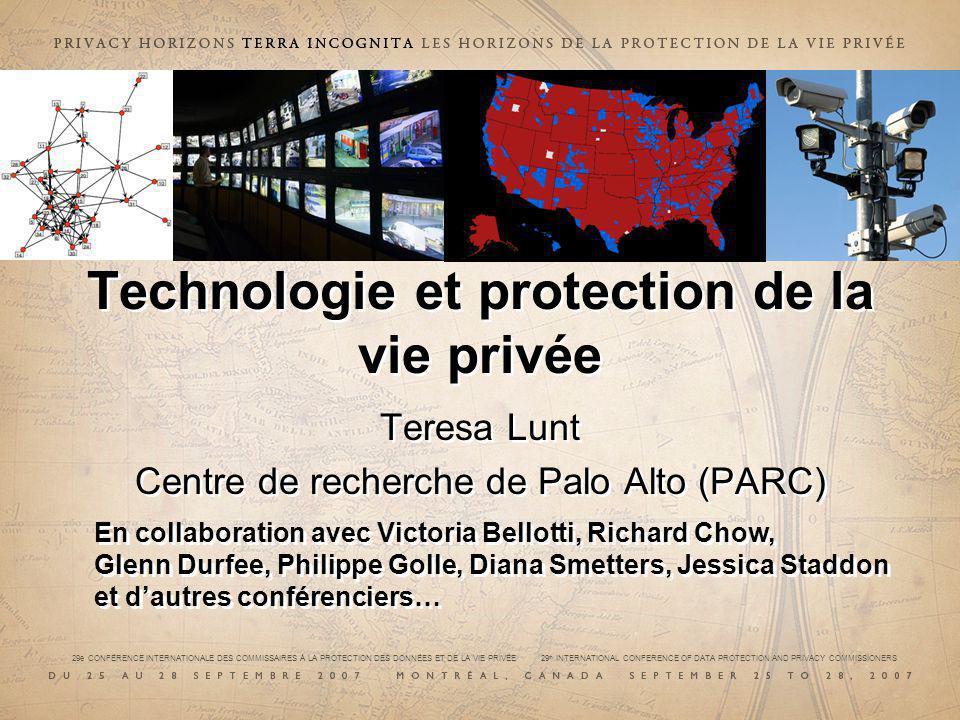 Technologie et protection de la vie privée Teresa Lunt Centre de recherche de Palo Alto (PARC) Teresa Lunt Centre de recherche de Palo Alto (PARC) En