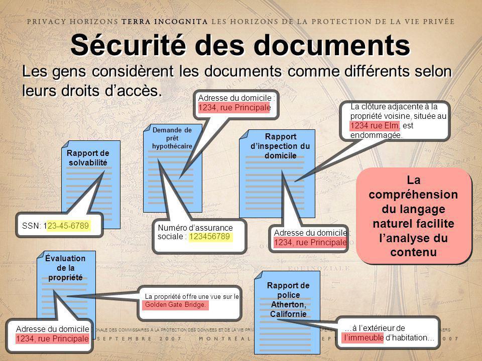 29e CONFÉRENCE INTERNATIONALE DES COMMISSAIRES À LA PROTECTION DES DONNÉES ET DE LA VIE PRIVÉE 29 th INTERNATIONAL CONFERENCE OF DATA PROTECTION AND PRIVACY COMMISSIONERS Sécurité des documents Rapport de solvabilité Demande de prêt hypothécaire SSN: 123-45-6789 Numéro dassurance sociale : 123456789 Rapport dinspection du domicile Adresse du domicile : 1234, rue Principale La clôture adjacente à la propriété voisine, située au 1234 rue Elm, est endommagée.