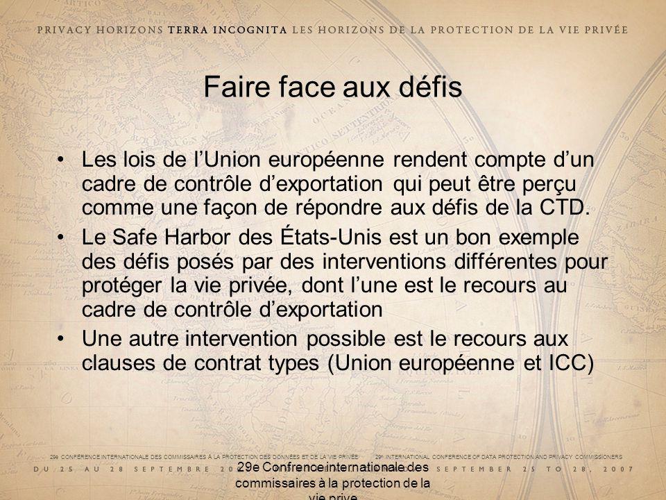 29e CONFÉRENCE INTERNATIONALE DES COMMISSAIRES À LA PROTECTION DES DONNÉES ET DE LA VIE PRIVÉE 29 th INTERNATIONAL CONFERENCE OF DATA PROTECTION AND PRIVACY COMMISSIONERS 29e Confrence internationale des commissaires à la protection de la vie prive Faire face aux défis Les lois de lUnion européenne rendent compte dun cadre de contrôle dexportation qui peut être perçu comme une façon de répondre aux défis de la CTD.