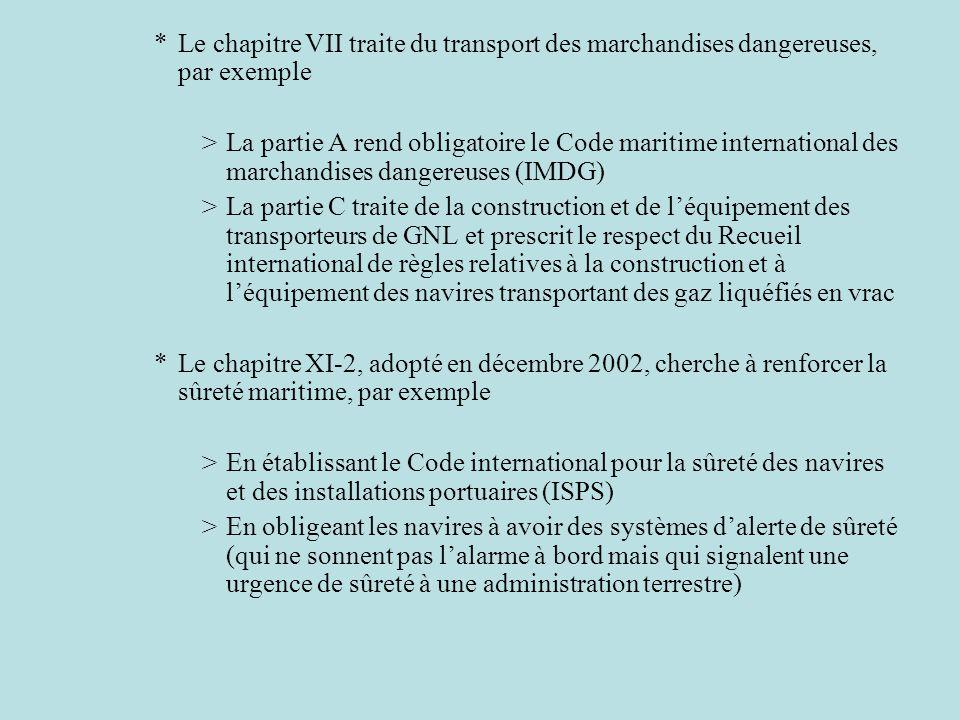 *Le chapitre VII traite du transport des marchandises dangereuses, par exemple >La partie A rend obligatoire le Code maritime international des marcha