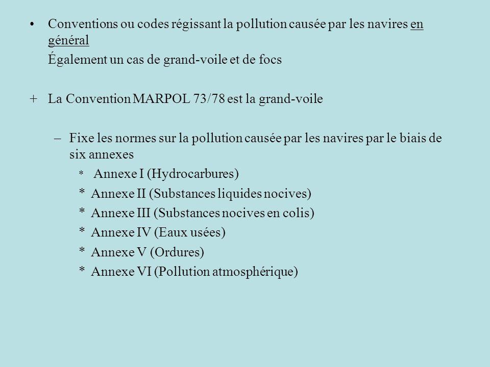 Conventions ou codes régissant la pollution causée par les navires en général Également un cas de grand-voile et de focs +La Convention MARPOL 73/78 e