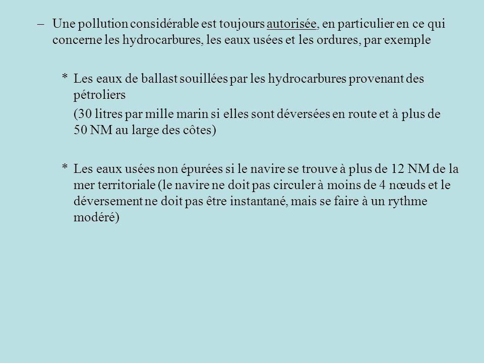 –Une pollution considérable est toujours autorisée, en particulier en ce qui concerne les hydrocarbures, les eaux usées et les ordures, par exemple *L
