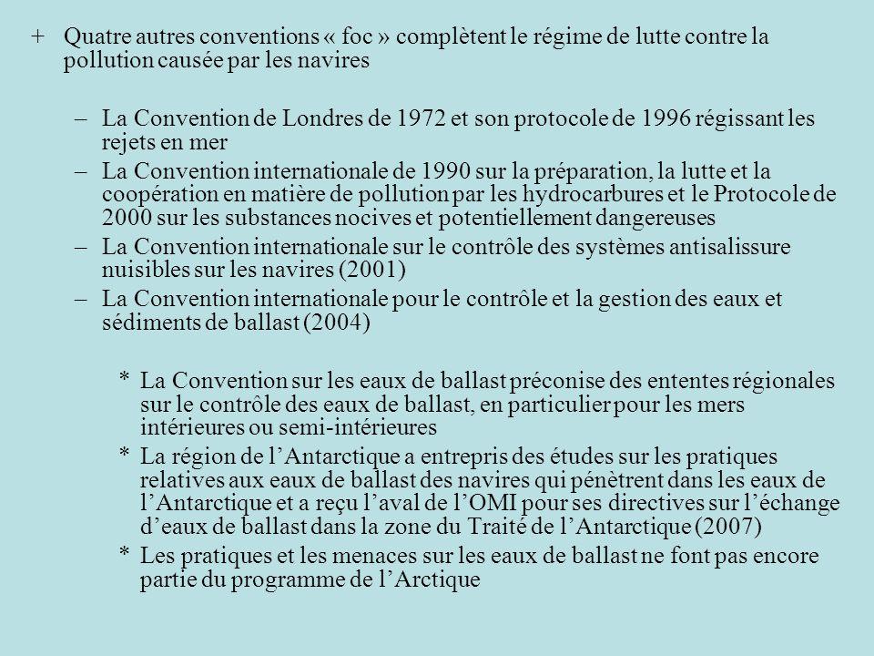 +Quatre autres conventions « foc » complètent le régime de lutte contre la pollution causée par les navires –La Convention de Londres de 1972 et son p