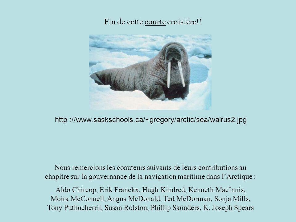 Fin de cette courte croisière!! http ://www.saskschools.ca/~gregory/arctic/sea/walrus2.jpg Nous remercions les coauteurs suivants de leurs contributio