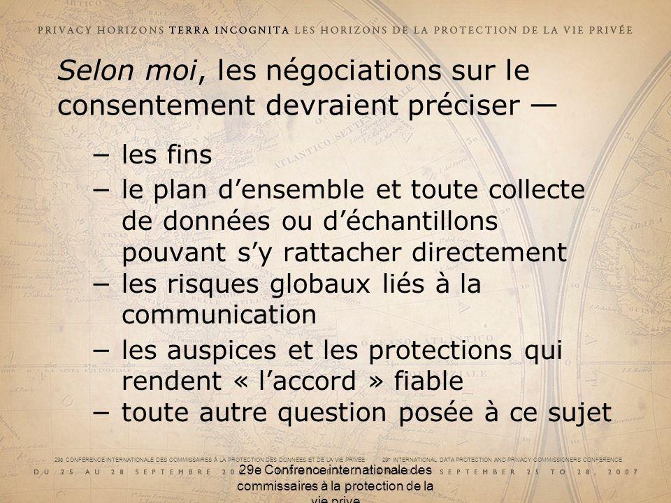 29e CONFÉRENCE INTERNATIONALE DES COMMISSAIRES À LA PROTECTION DES DONNÉES ET DE LA VIE PRIVÉE 29 th INTERNATIONAL DATA PROTECTION AND PRIVACY COMMISSIONERS CONFERENCE Données identifiables « Raisonnable / Faisable » Conseil de lEurope Recommandation N° R (97) 5 adoptée par le Comité des Ministres le 13 février 1997 «Une personne physique n est pas considérée comme identifiable si cette identification nécessite des délais et des activités déraisonnables.»