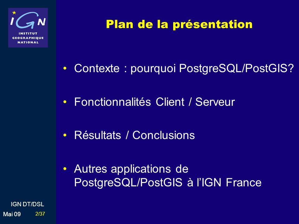 13/37 Mai 09 IGN DT/DSL 2004 : Prototypage BDUni France entière PostgreSQL / PostGIS Synchronisation Géoconcept Développement dun outil permettant de synchroniser les données entre les n clients et le serveur Tests de PostgreSQL (transaction) Les utilisateurs sont impliqués dans le suivi / guidage des développements Contexte Fonctionnalités Client / Serveur Résultats / Conclusions Autres applications