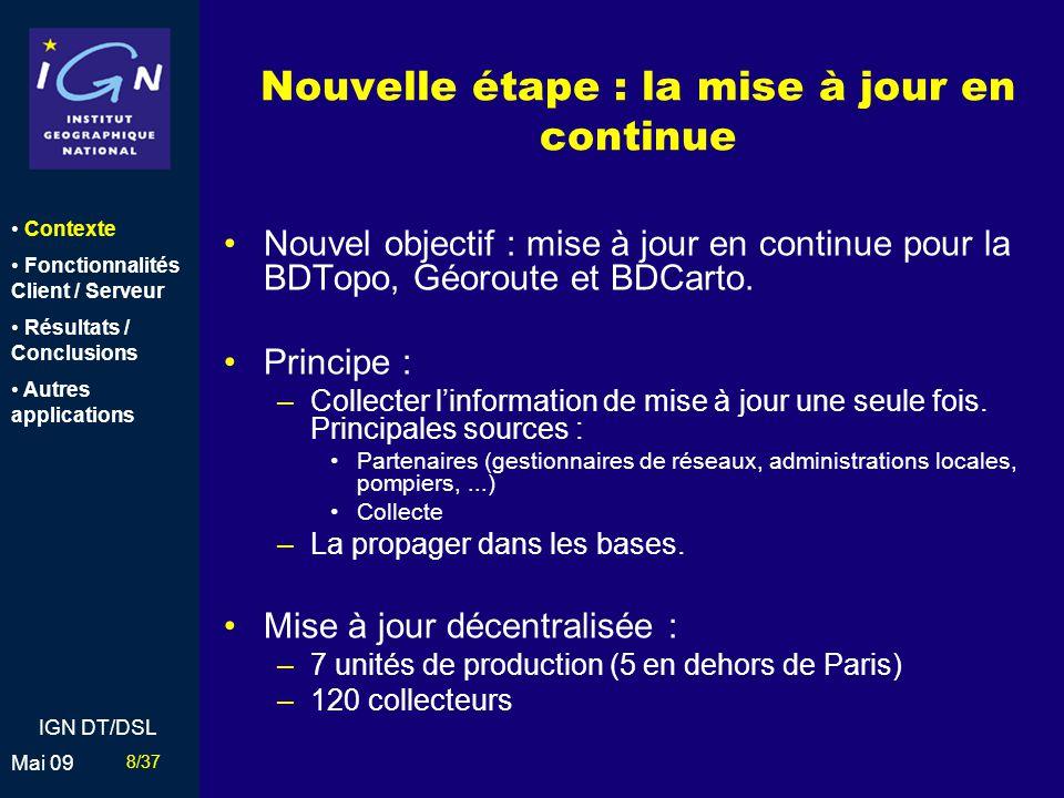9/37 Mai 09 IGN DT/DSL 2002 : un nouveau projet Objectifs : –Unification: Rendre la mise à jour plus facile Conserver les avantages des 2 produits –Implémentation dun nouveau système pour sauvegarder, gérer et mettre à jour les bases de données vecteur de lIGN : Bases dun seul bloc sur la France métropolitaine Mise à jour décentralisée Possibilité de travailler sur le terrain (déconnecté) GéorouteBDTopoBDUni Contexte Fonctionnalités Client / Serveur Résultats / Conclusions Autres applications