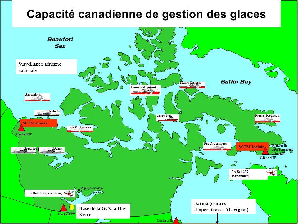 10 Sarnia (centres dopérations - AC région) Base de la GCC à Hay River SCTM Iqaluit Sir W.