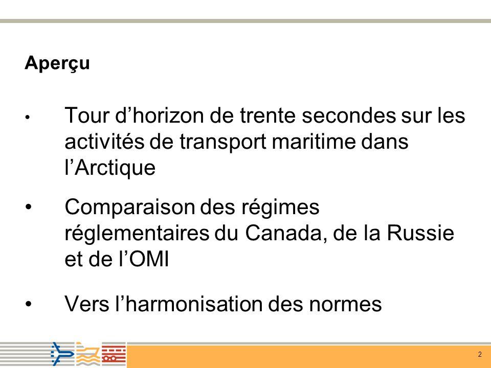 13 Construction/équipement Canada Exigences de construction particulières pour les navires de plus de 100 TJB, transportant plus de 453 m 3 dhydrocarbures Classes arctique, CAC, baltique Exigences particulières en matière déquipement pour les navires dans les zones de contrôle de la sécurité de la navigation Russie Registre russe sur la classification des glaces L1, UL ou ULA exigé (équivalent des classes 1A, 1AS et AC1 du registre de la Lloyds) Exigences particulières en matière de stabilité dans les glaces, et exigences minimums en matière de navigation et déquipement