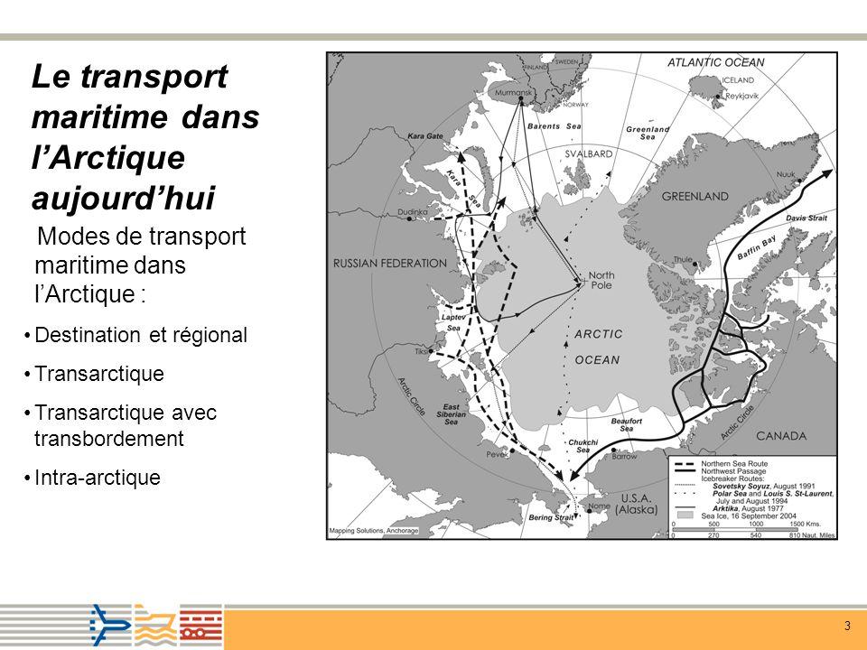 3 Le transport maritime dans lArctique aujourdhui Modes de transport maritime dans lArctique : Destination et régional Transarctique Transarctique avec transbordement Intra-arctique