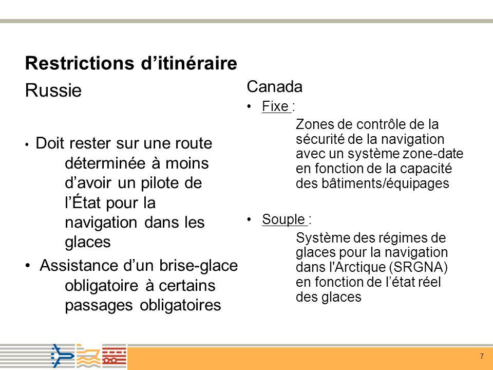 7 Restrictions ditinéraire Canada Fixe : Zones de contrôle de la sécurité de la navigation avec un système zone-date en fonction de la capacité des bâtiments/équipages Souple : Système des régimes de glaces pour la navigation dans l Arctique (SRGNA) en fonction de létat réel des glaces Russie Doit rester sur une route déterminée à moins davoir un pilote de lÉtat pour la navigation dans les glaces Assistance dun brise-glace obligatoire à certains passages obligatoires
