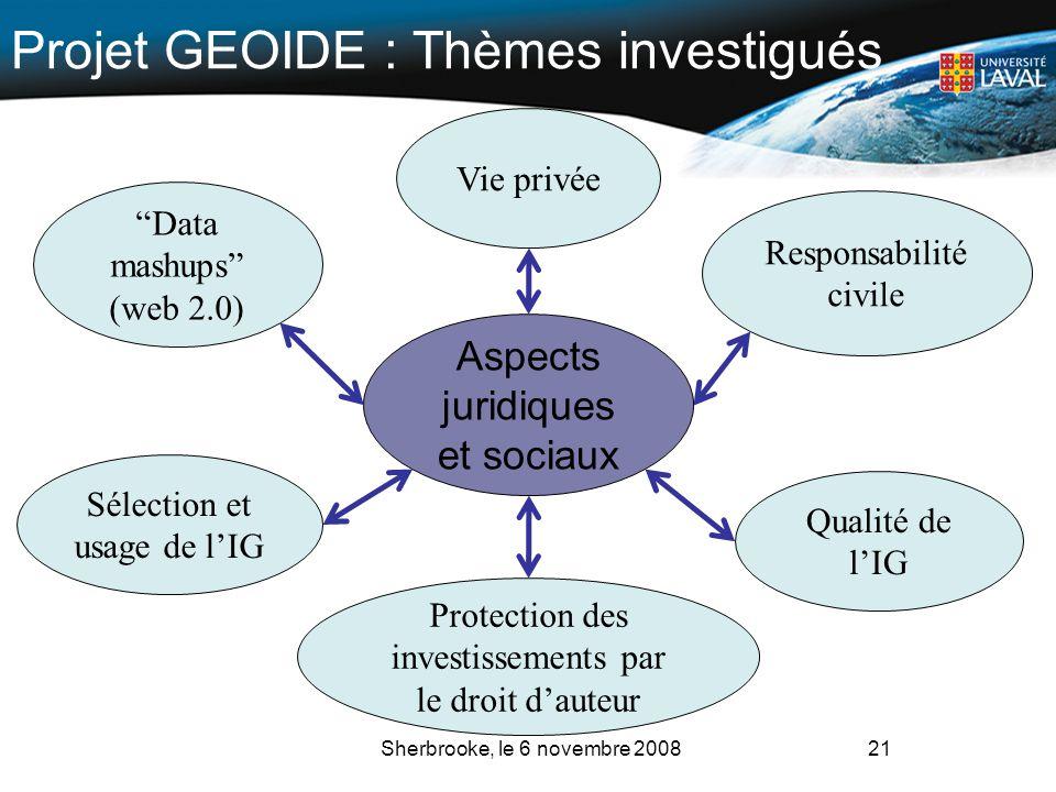 Vie privée Data mashups (web 2.0) Qualité de lIG Responsabilité civile 21 Aspects juridiques et sociaux Protection des investissements par le droit da