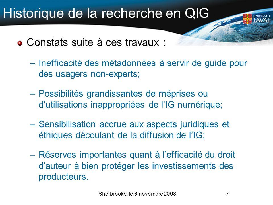 Historique de la recherche en QIG Constats suite à ces travaux : –Inefficacité des métadonnées à servir de guide pour des usagers non-experts; –Possib