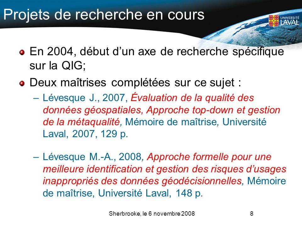 Projets de recherche en cours En 2004, début dun axe de recherche spécifique sur la QIG; Deux maîtrises complétées sur ce sujet : –Lévesque J., 2007,