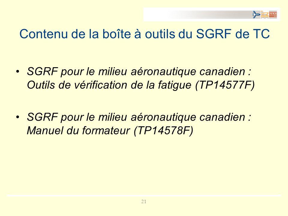 21 Contenu de la boîte à outils du SGRF de TC SGRF pour le milieu aéronautique canadien : Outils de vérification de la fatigue (TP14577F) SGRF pour le milieu aéronautique canadien : Manuel du formateur (TP14578F)
