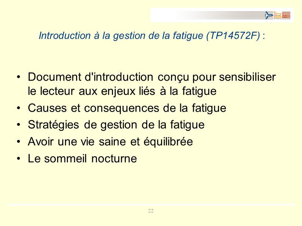22 Introduction à la gestion de la fatigue (TP14572F) : Document d introduction conçu pour sensibiliser le lecteur aux enjeux liés à la fatigue Causes et consequences de la fatigue Stratégies de gestion de la fatigue Avoir une vie saine et équilibrée Le sommeil nocturne