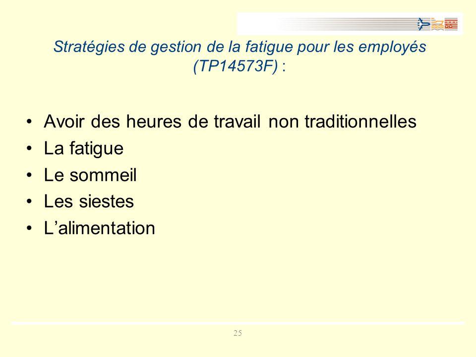 25 Stratégies de gestion de la fatigue pour les employés (TP14573F) : Avoir des heures de travail non traditionnelles La fatigue Le sommeil Les siestes Lalimentation
