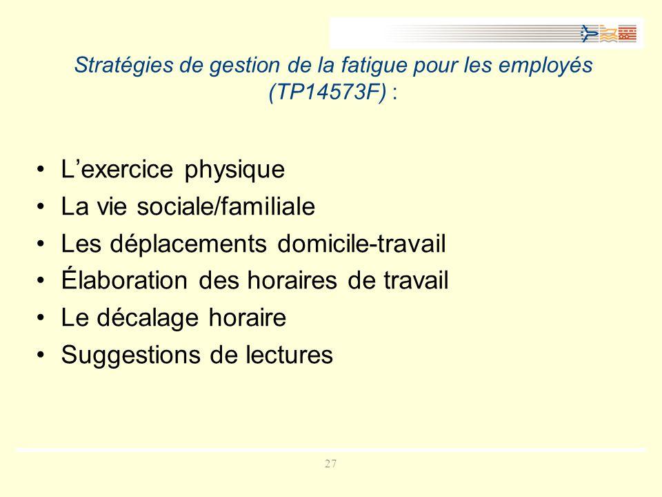 27 Stratégies de gestion de la fatigue pour les employés (TP14573F) : Lexercice physique La vie sociale/familiale Les déplacements domicile-travail Élaboration des horaires de travail Le décalage horaire Suggestions de lectures
