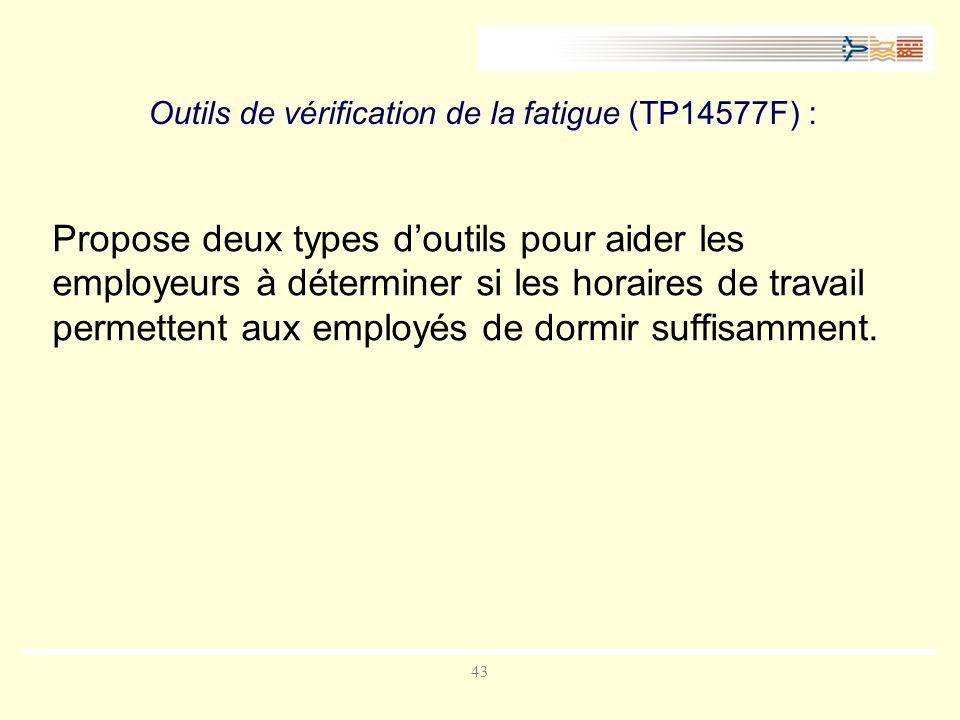 43 Outils de vérification de la fatigue (TP14577F) : Propose deux types doutils pour aider les employeurs à déterminer si les horaires de travail permettent aux employés de dormir suffisamment.