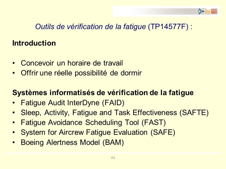 44 Outils de vérification de la fatigue (TP14577F) : Introduction Concevoir un horaire de travail Offrir une réelle possibilité de dormir Systèmes informatisés de vérification de la fatigue Fatigue Audit InterDyne (FAID) Sleep, Activity, Fatigue and Task Effectiveness (SAFTE) Fatigue Avoidance Scheduling Tool (FAST) System for Aircrew Fatigue Evaluation (SAFE) Boeing Alertness Model (BAM)