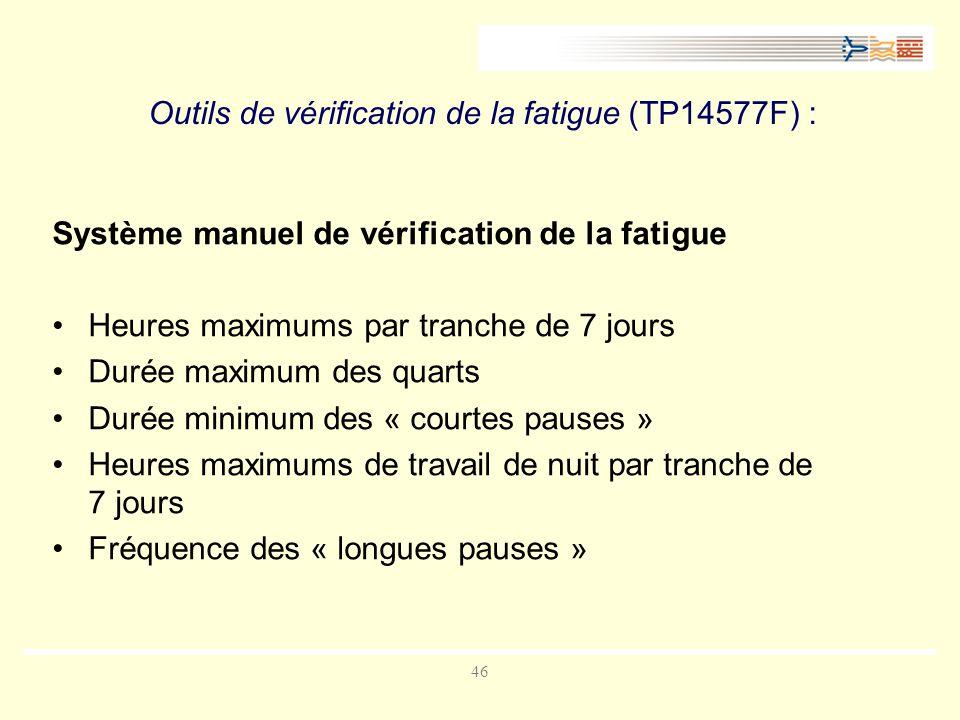 46 Outils de vérification de la fatigue (TP14577F) : Système manuel de vérification de la fatigue Heures maximums par tranche de 7 jours Durée maximum des quarts Durée minimum des « courtes pauses » Heures maximums de travail de nuit par tranche de 7 jours Fréquence des « longues pauses »
