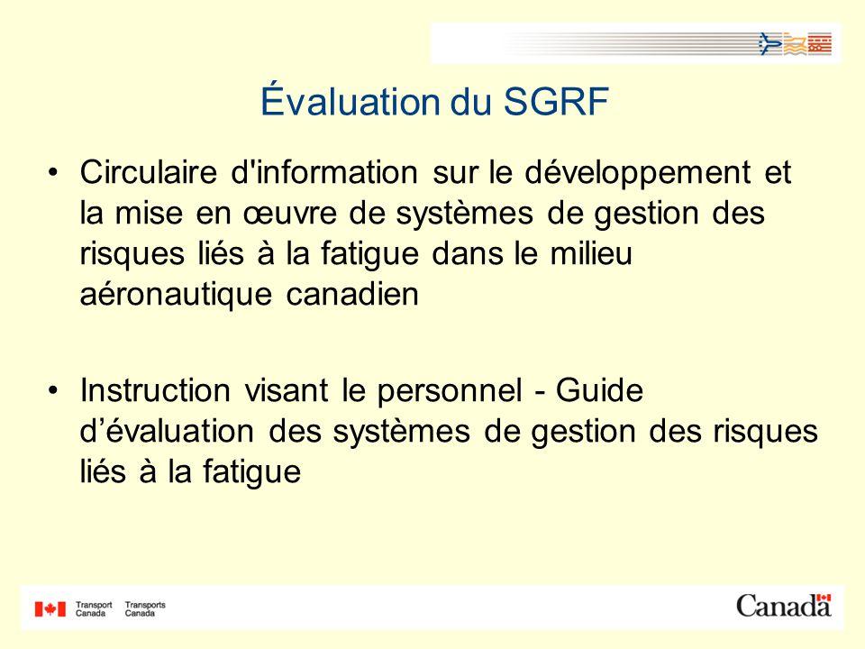 Évaluation du SGRF Circulaire d information sur le développement et la mise en œuvre de systèmes de gestion des risques liés à la fatigue dans le milieu aéronautique canadien Instruction visant le personnel - Guide dévaluation des systèmes de gestion des risques liés à la fatigue