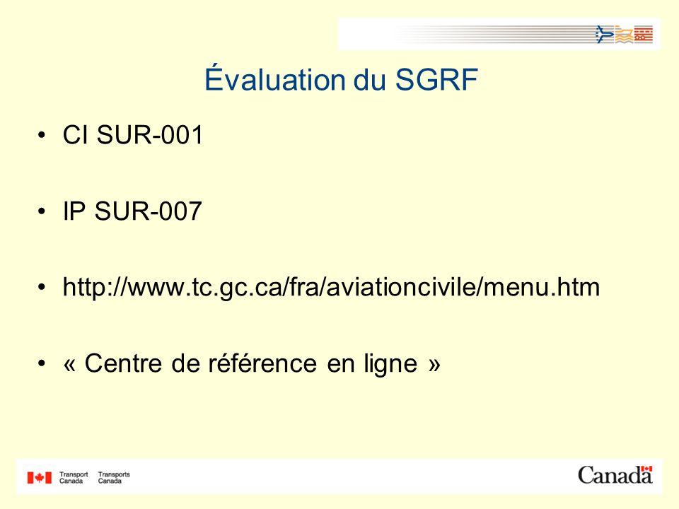 Évaluation du SGRF CI SUR-001 IP SUR-007 http://www.tc.gc.ca/fra/aviationcivile/menu.htm « Centre de référence en ligne »