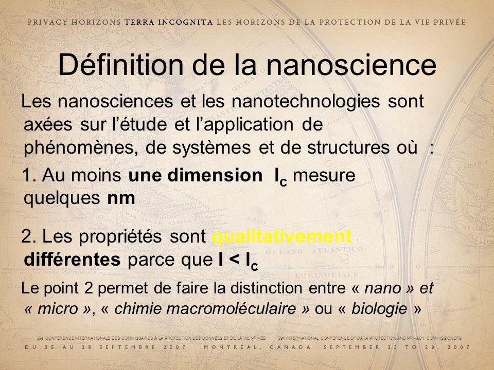 29e CONFÉRENCE INTERNATIONALE DES COMMISSAIRES À LA PROTECTION DES DONNÉES ET DE LA VIE PRIVÉE 29 th INTERNATIONAL CONFERENCE OF DATA PROTECTION AND PRIVACY COMMISSIONERS Définition de la nanoscience Les nanosciences et les nanotechnologies sont axées sur létude et lapplication de phénomènes, de systèmes et de structures où : 1.