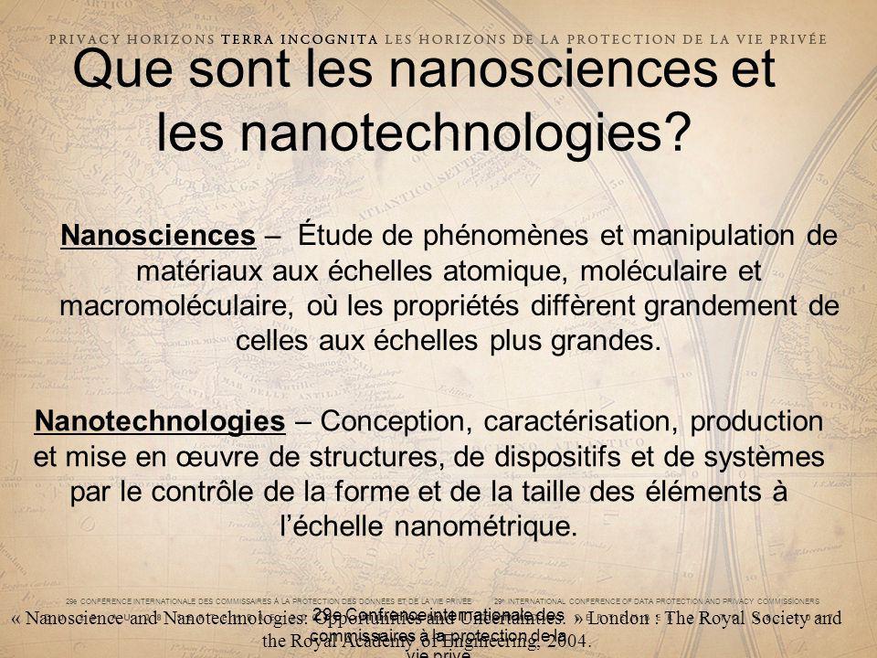 29e CONFÉRENCE INTERNATIONALE DES COMMISSAIRES À LA PROTECTION DES DONNÉES ET DE LA VIE PRIVÉE 29 th INTERNATIONAL CONFERENCE OF DATA PROTECTION AND PRIVACY COMMISSIONERS 29e Confrence internationale des commissaires à la protection de la vie prive Que sont les nanosciences et les nanotechnologies.