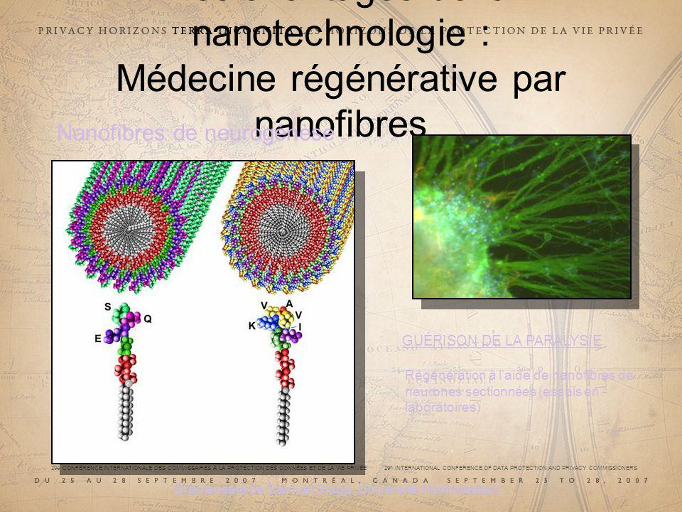 29e CONFÉRENCE INTERNATIONALE DES COMMISSAIRES À LA PROTECTION DES DONNÉES ET DE LA VIE PRIVÉE 29 th INTERNATIONAL CONFERENCE OF DATA PROTECTION AND PRIVACY COMMISSIONERS Les avantages de la nanotechnologie : Médecine régénérative par nanofibres Gracieuseté de Samuel Stupp, Université Northwestern Nanofibres de neurogénèse GUÉRISON DE LA PARALYSIE Régénération à laide de nanofibres de neurones sectionnées (essais en laboratoires)