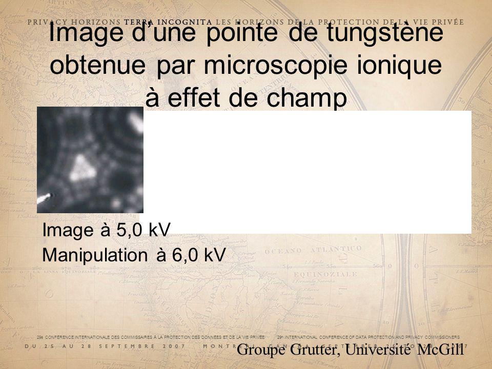 Image dune pointe de tungstène obtenue par microscopie ionique à effet de champ Image à 5,0 kV Manipulation à 6,0 kV Groupe Grutter, Université McGill