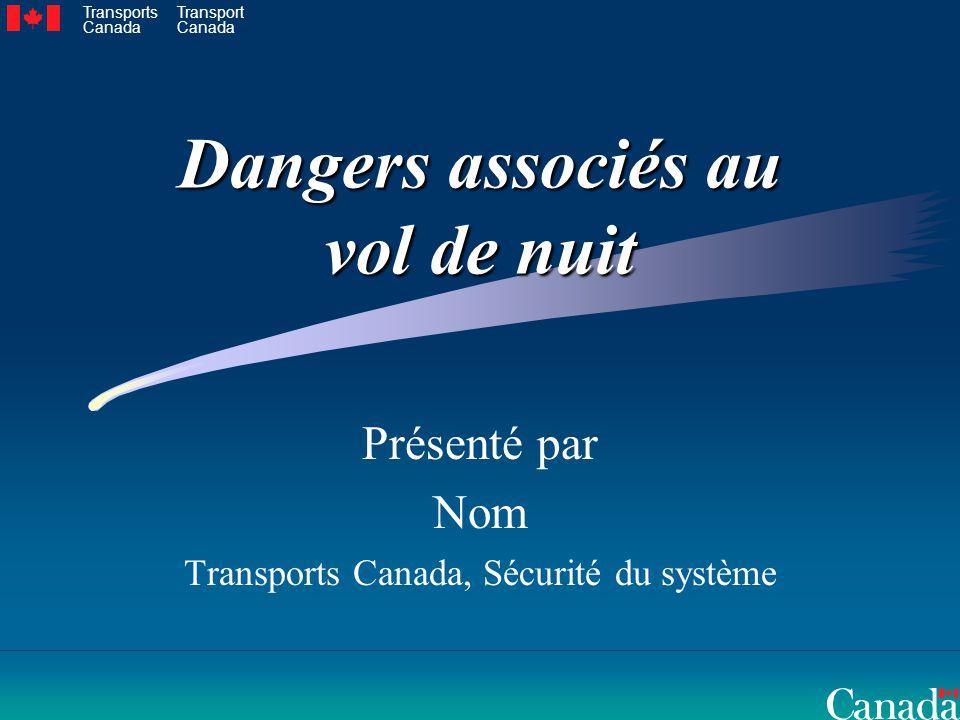 Dangers associés au vol de nuit Présenté par Nom Transports Canada, Sécurité du système Transports Canada Transport Canada