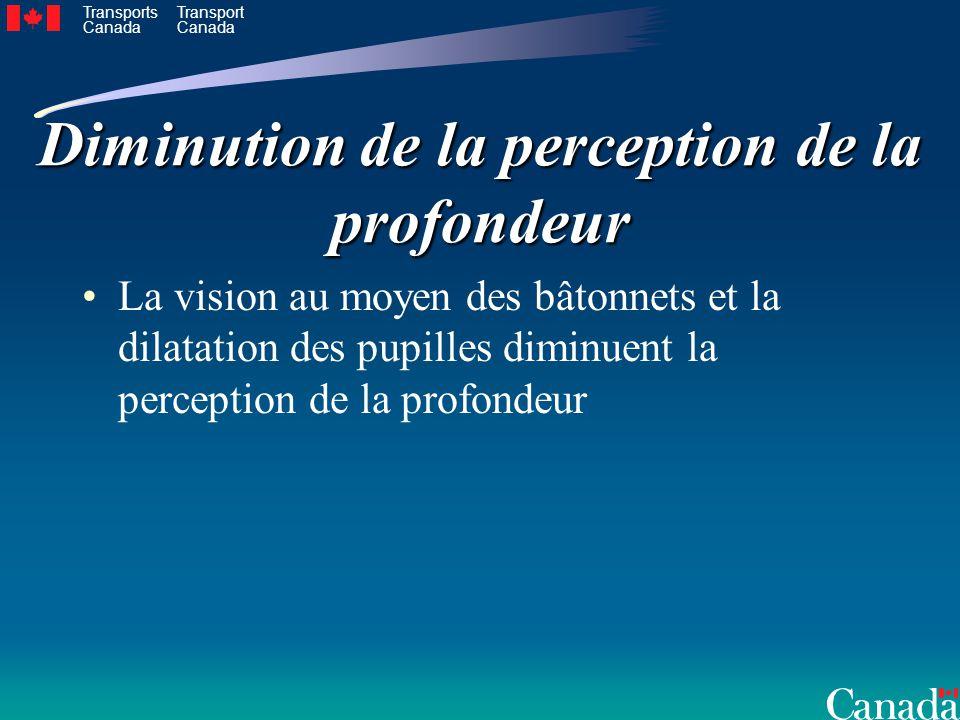 Transports Canada Transport Canada Diminution de la perception de la profondeur La vision au moyen des bâtonnets et la dilatation des pupilles diminuent la perception de la profondeur
