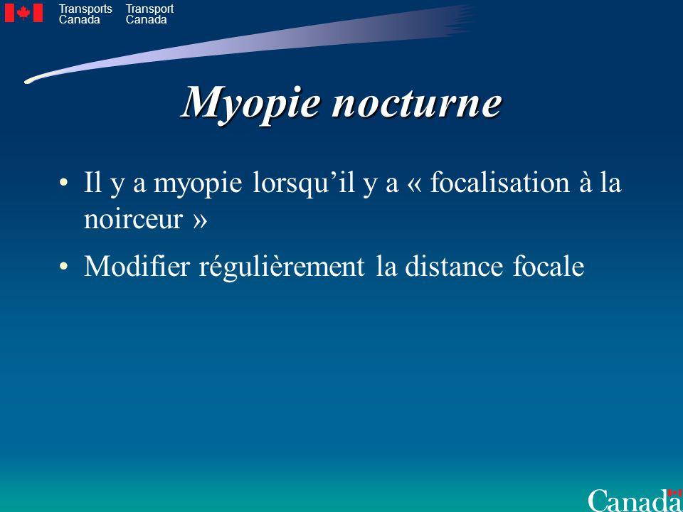 Transports Canada Transport Canada Myopie nocturne Il y a myopie lorsquil y a « focalisation à la noirceur » Modifier régulièrement la distance focale