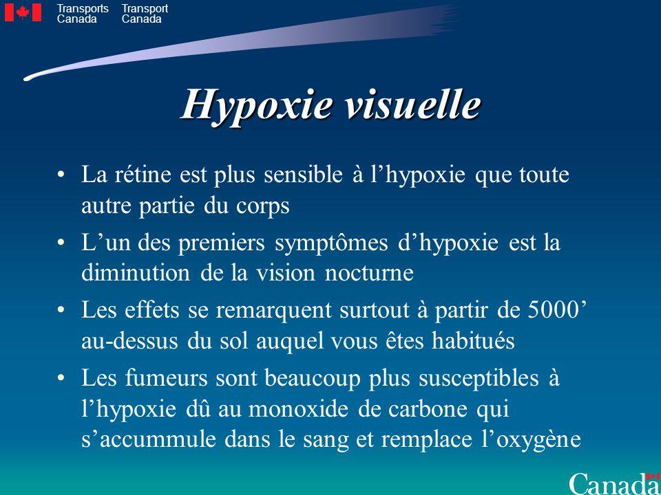 Transports Canada Transport Canada Hypoxie visuelle La rétine est plus sensible à lhypoxie que toute autre partie du corps Lun des premiers symptômes