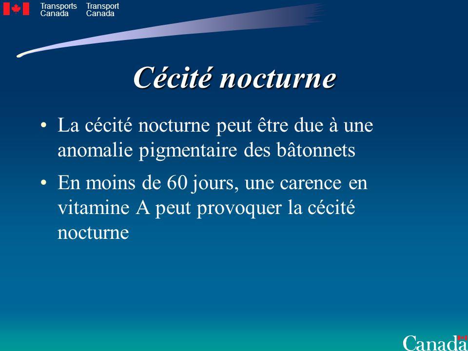 Transports Canada Transport Canada Cécité nocturne La cécité nocturne peut être due à une anomalie pigmentaire des bâtonnets En moins de 60 jours, une carence en vitamine A peut provoquer la cécité nocturne