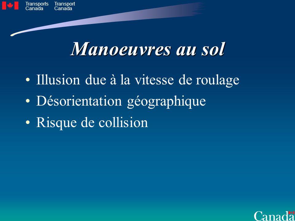 Transports Canada Transport Canada Manoeuvres au sol Illusion due à la vitesse de roulage Désorientation géographique Risque de collision