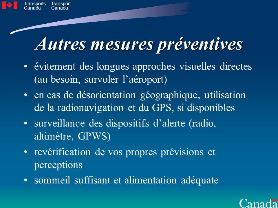Transports Canada Transport Canada Autres mesures préventives évitement des longues approches visuelles directes (au besoin, survoler laéroport) en ca