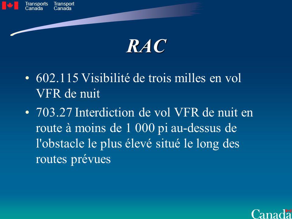 Transports Canada Transport CanadaRAC 602.115 Visibilité de trois milles en vol VFR de nuit 703.27 Interdiction de vol VFR de nuit en route à moins de 1 000 pi au-dessus de l obstacle le plus élevé situé le long des routes prévues