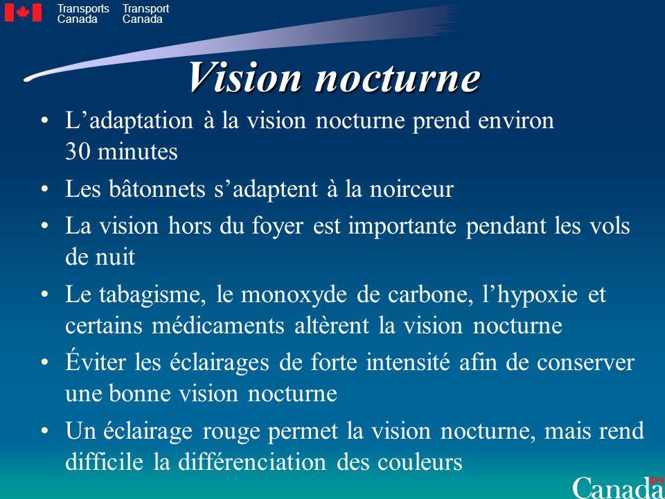 Transports Canada Transport Canada Vision nocturne Ladaptation à la vision nocturne prend environ 30 minutes Les bâtonnets sadaptent à la noirceur La