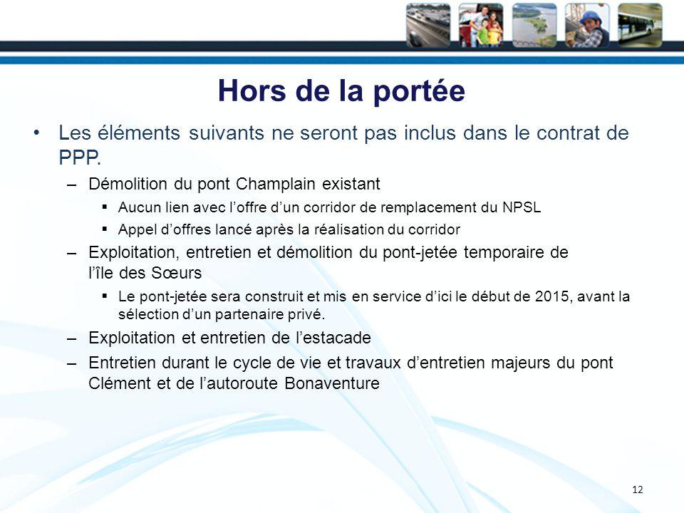 12 Hors de la portée Les éléments suivants ne seront pas inclus dans le contrat de PPP.